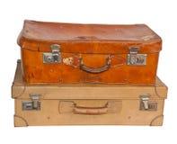 2 винтажных чемодана, белая предпосылка Стоковое Фото