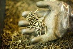 Винты в руке, руке в резиновой перчатке, концепции конструкции стоковая фотография