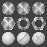 Винты, гайки - и - установленные значки болтов реалистические Стоковое Фото