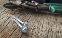 2 винты и болта металла Стоковое Изображение RF