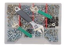 Винты и гайки гаечных ключей работы ключа на фоне Стоковые Изображения RF