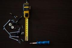 Винты и гайки, лента, сантиметр, подчиненная стрельба Стоковое Изображение RF