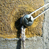 Винт в кирпичной стене при прикрепленная строка Стоковое фото RF