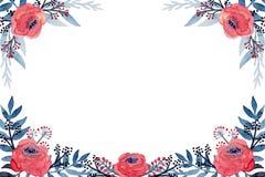 Виньетка акварели с красными цветками и листьями сини иллюстрация штока