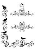 Виньетка угла с орнаментом и птицами Стоковые Изображения