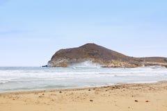 Виндсерфинг на Playa de los Genoveses, Сан-Хосе Стоковые Изображения RF