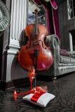 Виолончель и 2 красных рюмки на подушке стоковая фотография rf