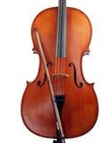 виолончель смычка тела изолировала Стоковые Изображения