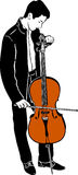 Виолончель молодого мужского музыканта настраивая Стоковые Фото