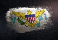 Виргинские Острова (Американские) сигнализируют сделанный из металлической краски o щетки стоковое изображение rf
