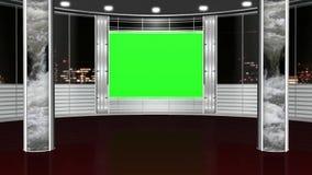 Виртуальная предпосылка 2 студии - зеленый экран иллюстрация вектора