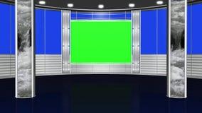 Виртуальная предпосылка 3 студии - зеленый экран иллюстрация штока