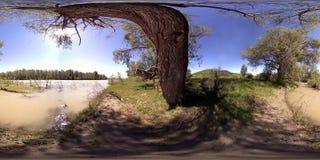 Виртуальная реальность UHD 4K 360 VR реки пропускает над утесами в красивом ландшафте леса горы видеоматериал