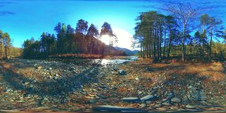 Виртуальная реальность 360 VR одичалые горы, сосновый лес и река пропускает Лучи национального парка, луга и солнца акции видеоматериалы
