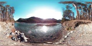 Виртуальная реальность 360 VR одичалые горы, сосновый лес и река пропускает Лучи национального парка, луга и солнца видеоматериал