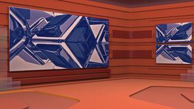 Виртуальная студия широковещания с закреплять петлей абстрактное видео отснятого видеоматериала и зеленое экранное пространство Д бесплатная иллюстрация