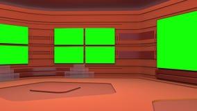 Виртуальная студия широковещания с зеленым экранным пространством Движение камеры включено иллюстрация вектора