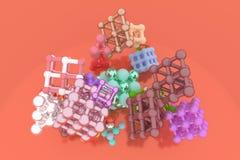 Виртуальное concepture геометрических, молекулы стиля, блокировать квадрат или пирамиды для текстуры дизайна, предпосылки 3d пред иллюстрация штока