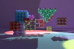 Виртуальное concepture геометрических, молекулы стиля, блокировать квадрат или пирамиды для текстуры дизайна, предпосылки 3d пред иллюстрация вектора