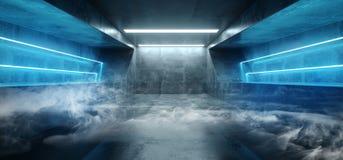 Виртуальной реальности Sci Fi дыма гараж конкретного темного пустого тоннеля Grunge футуристической неоновой дневной живой голубо иллюстрация штока