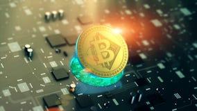 Виртуальный символ Bitcoin cryptocurrency Стоковое Изображение