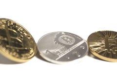 3 виртуальных bitcoins монеток Стоковое Фото