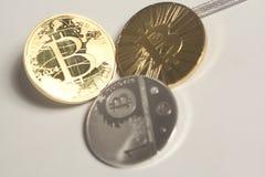 3 виртуальных bitcoins монеток Стоковые Фото