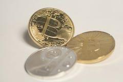 3 виртуальных bitcoins монеток Стоковая Фотография