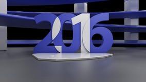 Виртуальная комната выставки с simbol 2016 Новых Годов, на черноте бесплатная иллюстрация