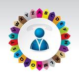 Виртуальная концепция телефонного справочника с алфавитом Стоковое Фото