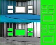 Виртуальная студия с изолированными мониторами экрана Стоковая Фотография