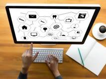 Виртуальное пространство и futur кнопки переключателя дисплея технологии время от времени Стоковое Изображение