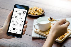 Виртуальное пространство и futur кнопки переключателя дисплея технологии время от времени Стоковые Фотографии RF