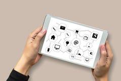 Виртуальное пространство и futur кнопки переключателя дисплея технологии время от времени Стоковое фото RF
