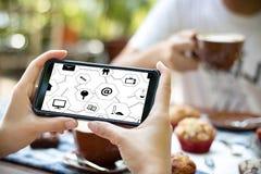 Виртуальное пространство и futur кнопки переключателя дисплея технологии время от времени Стоковая Фотография RF