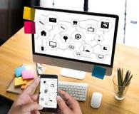 Виртуальное пространство и futur кнопки переключателя дисплея технологии время от времени Стоковое Фото