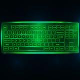 Виртуальные сияющие клавиатура или кнопочная панель ПК компьютера на темной ой-зелен задней части Стоковые Изображения RF