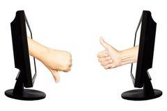 Виртуальный одно или не одно - концепция дела интернета - объединяйтесь в команду успех работы или не успех Стоковые Изображения RF