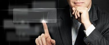 Виртуальный экран руки бизнесмена касающий Стоковое Фото
