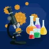 Вирусы заразили организм, вирусную эпидемию заболеванием, вакционное исследование Стоковое Изображение
