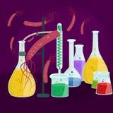 Вирусы заразили организм, вирусную эпидемию заболеванием, вакционное исследование Стоковые Изображения