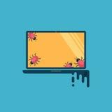 вирус компьютера Компьютер заражен, вирусы в форме черепашок захватил компьтер-книжку стоковые изображения