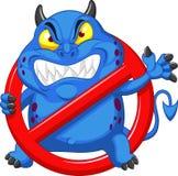 Вирус стопа шаржа - голубой вирус в знаке воздушной тревоги красная Стоковое Фото