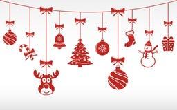 Висеть орнаментов рождества красный рождество предпосылки веселое иллюстрация вектора