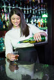 Виски милого бармена лить в стекле стоковое изображение
