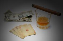 Виски покера денег стоковое изображение