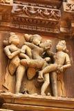 Виски Khajuraho и их эротичные скульптуры, Индия Стоковая Фотография