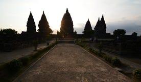 Виски Prambanan на заходе солнца Область Yogyakarta java Индонезия стоковое изображение rf