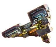 Висмут Кристл красочный искусственно, который выросли на белой изолированной предпосылке стоковые фото
