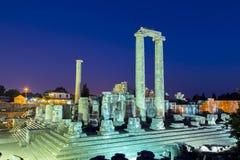 Висок Аполлона в городе Didyma античном на twilight Турции 2014 Стоковые Изображения